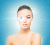Woman with the hologram on her eyes — Stock Photo