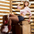 Happy and sexy cowgirl — Stock Photo