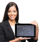 Businesswoman with the tablet compute — Stock Photo