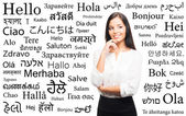 Businesswoman with a different world languages — Stock Photo