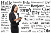 Businesswoman with  different world languages — Stock Photo