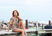 Young beautiful redhead woman — Stock Photo