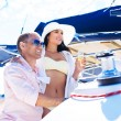 Couple have party on luxury boat — Stock Photo #48691217
