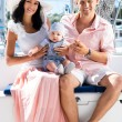 Young family on sailing boat — Stock Photo #48691253