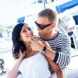 Attractive couple on sailing boat — Stock Photo #48691479