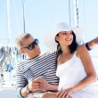Attractive couple on sailing boat — Stock Photo