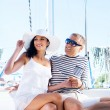 Attractive couple on sailing boat — Stock Photo #48691597