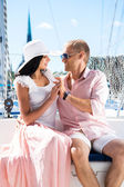 Couple on sailing boat — Stock Photo