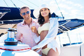 Couple have party on luxury boat — Stock Photo