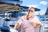 Handsome man on luxury yacht — Stock Photo