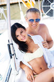 Couple relaxing on sailing boat — Stock Photo