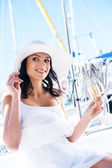 Beautiful woman on luxury yacht — Foto de Stock