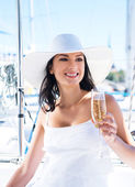 Beautiful woman on luxury yacht — Stock Photo