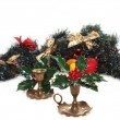 Stockfoto: Christmas arrangement with vintage candlesticks