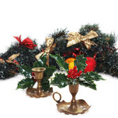 Christmas arrangement with vintage candlesticks — Stock Photo