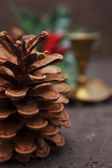 Christmas decoration with cones — Stock Photo