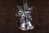 Christmas decoration with silver bells — Stock Photo