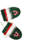 Green christmas mittens — Stock Photo