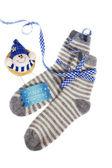 Woolen christmas gift from grandma — Stock Photo