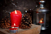 Christmas decoration with candles — Stockfoto