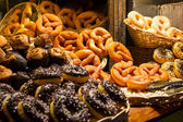 Christmas market stalls with baked goods — Stock Photo