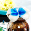 Aromatherapy set with flower candle and incense - Stock Photo