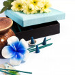 Aromatherapy set with flower candle and incense — Stock Photo #19480373
