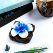 Aromatherapy set with flower candle and incense — Stock Photo #19480377