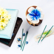 Stock Photo: Aromatherapy set with flower candle and incense