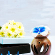 Aroma set with flower candle and incense — Stock Photo