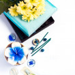 Aromatherapy set with flower candle and incense — Stock Photo