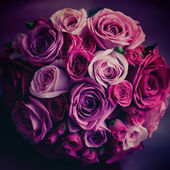 Wedding flowers. Pink and red roses. Vintage colors. — Stock Photo