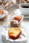 Breakfast with muffins and coffee close up — Stock Photo