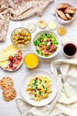 Fresh breakfast table. Healthy food. Top view. — Stock Photo