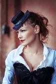 Vintage portrait de belle fille — Photo