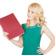 The beautiful blonde holds the red folder in a hand — Stock Photo #28141567