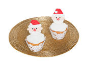 Christmas cupcakes isolation — Stock Photo