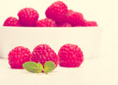 Red raspberry in a white bowl. Toned in warm colors — Stock Photo