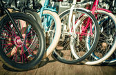 Bicycle, tire wheels vintage hipsters toning — Stock Photo