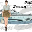 Summer fashion girl with boat on background — Stock Vector