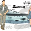 Fashion man and girl with boat on background — Stock Vector