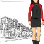 Urban fashion girl background — Stock Vector