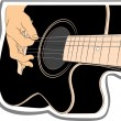 Playing acoustic guitar - vector abstract background — Stock Vector
