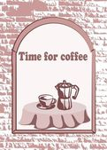 Vector cup of coffee and Kettle, background — Cтоковый вектор