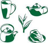 Set coffee and tea icons — Stock Vector