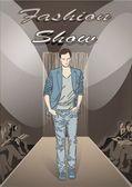 Fashion man on Fashion show background — Stock Vector