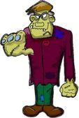 Frankenstein cartoon, happy Halloween — Stock Vector
