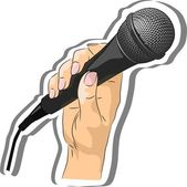 Vector drawing of a hand holding a microphone — Stock Vector