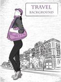 Travel fashion girl - vector background — Stock Vector