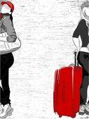 Voyage fashion girl - vector background — Vecteur
